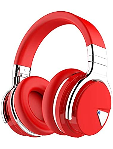 COWIN Active Noise Cancelling Bluetooth Headphones with Microphone Hi-Fi Deep Bass Wireless Headphones Over Ear  Comfortable Protein Earpads  Hours Playtime for Travel Work Computer  Red