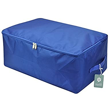 Waterproof Thick Oxford Comforter Storage Bag, Collapsible Design, Durable Handles for Season Items Storage (Sapphire blue, L)