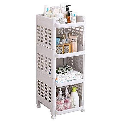 AJ 3-Tier Plataforma de Almacenamiento de plástico Rack Esquina de baño Carrito de Almacenamiento