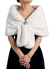Gortin Women's Fur Shawl and Wraps Bride Wedding Faux Fur Stoles Sleeveless Fur Scarfs Fur Stoles for Brides and Bridesmaids