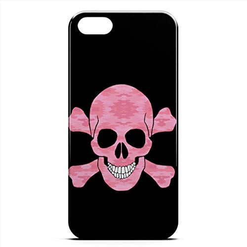 - ZHIQCH iPhone 5/5s/SE case Pink Camouflage Skull Crossbones Slim Fit Hard Plastic Cover Cases Full Protective Anti-Scratch Resistant Compatible iPhone 5/5s/SE