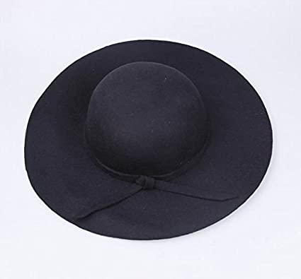 World2home Pure Cashmere Wool Felt Hats Women Solid Wide Large Brim Women  Fedora Hat Vintage Floppy 93ddfc3181