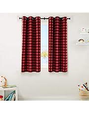 "Amazon Basics Kids 100% Blackout Window Curtain Set with Grommets - (2) 42"" x 63"", Red Buffalo Plaid"