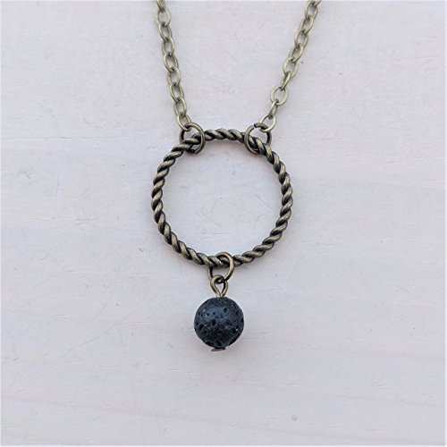 Lava Bead and Twisted Ring Bronze-tone Aromatherapy Necklace Essential Oil Diffuser Lava Stone Pendant (Twisted Branch)