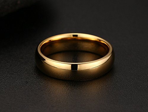 Couples 6mm/4mm Gold Plated-tone Domed High Polished Plain Tungsten Wedding Ring Band for Men&women by Mealguet (Image #1)