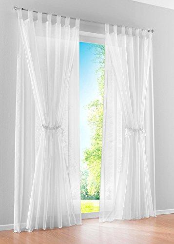 Uphome 1-Pair Mediterranean Style Double Layered Solid Pattern Sheer Window Curtain Panel- White Inside Layer Tab Top Gauze Window Treatment,59