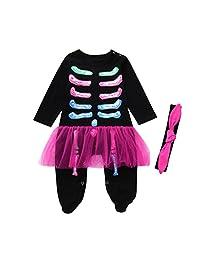 Veepola Baby Girls Bone Tutu Romper Jumpsuit Halloween Costume Outfits Hair Band