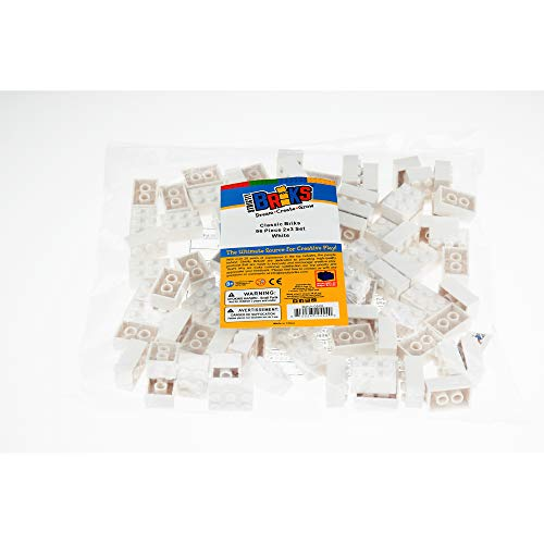 Strictly Briks Classic Briks Building Starter Kit - 100% Compatible with All Major Brick Brands - 2x3, White, 96 Pieces