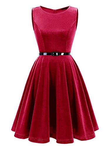 Cocktail Party Red Belt Dark Vintage Sleeveless Velvet Swing Women's with 1950s IVNIS Dress 7v0YqA