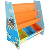 Bebe Style Premum Toddler Sized Storage Shelf with 3 Bins Pirate Theme Easy Assembly Blue