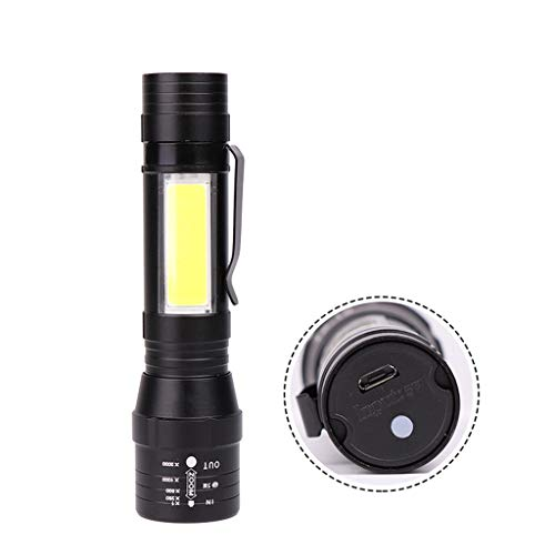 Juner LED Flashlight,USB Rechargeable Built-in Battery LED Flashlight Super Bright 4 Modes LED COB+T6 For Sporting, Camping, Outdoor, Hiking (Black)