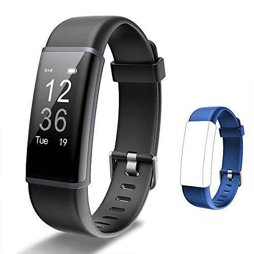 Lintelek Fitness Tracker HR, Activity Tracker with Step Counter, Heart Rate Monitor, Smart Watch with Sleep Monitor, Extra Replacement Band for Men Women Kids (Black+Blue)