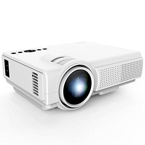 Projector, TENKER Q5 Mini Projector 1500 Lumens LED Portable Movie Projector Support 1080P HDMI USB TF VGA AV, Multimedia Home Theater LCD Video Projector, White Rear Projection Systems