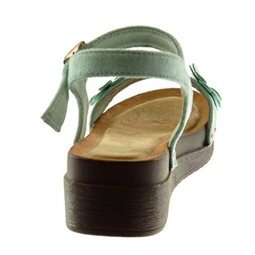 Angkorly Chaussure Mode Sandale Mule Plateforme Lanière Cheville Femme Fleurs Clouté Bois Talon compensé Plateforme 4.5 CM Turquoise dOiB1Cf