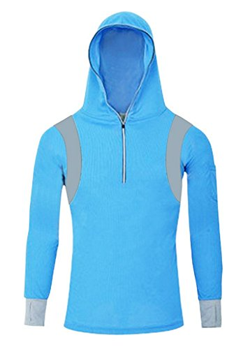 Geval Men's Bamboo Fiber Long Sleeve Fishing Shirts UV Sunscreen Cloth With Hood(Blue, US 2XL, Label 3XL)