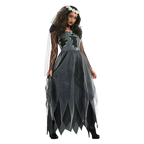 Women's Zombie Ghost Bride Costume Veil long Gothic Halloween Corpse Countess Graveyard Bride Costume Dress Outfits,Medium