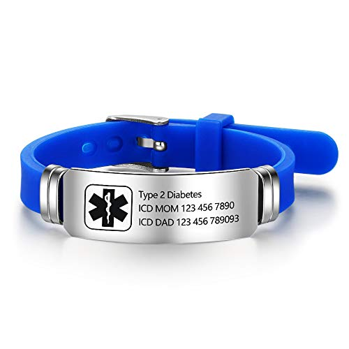Lam Hub Fong Free Engraving 9 Inches Silicone Adjustable Medical Bracelets Emergency ID Bracelets...