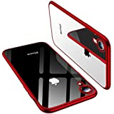 TORRAS Clear iPhone XR Case 6.1 Inch, Soft Silicone TPU Cover with Electroplated Bumper Slim Thin Case Compatible with iPhone XR (2018), Red