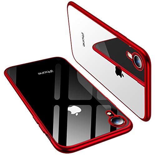 TORRAS Clear iPhone XR Case 6.1 Inch, Soft Silicone TPU Cover with Electroplated Bumper Slim Thin Case Compatible with iPhone XR (2018), Red from TORRAS