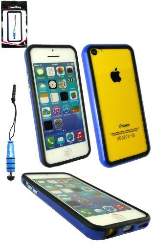 Emartbuy® Pack Stylet Pour Apple Iphone 5c Bleu Metallic Mini Stylet + Protecteur D'Écran Lcd Gel / Étui / Housse Moulé Massif Housse / De Butoir Bleu / Noir +