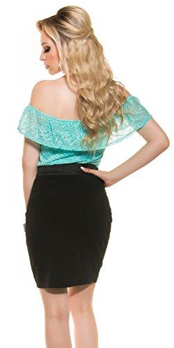KouCla - Vestido - Estuche - para mujer Türkisgrün/Schwarz