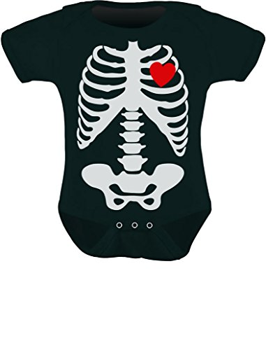 Tstars Baby Skeleton X-ray Heart - Halloween Easy Costume Baby Bodysuit 12M Black -