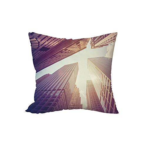 iPrint Polyester Throw Pillow Cushion,City,High Rise Buildings in Manhattan Vintage Stylized Photo Business Finance,Rose Quartz Pale Yellow,17.7x17.7Inches,for Sofa Bedroom Car Decorate