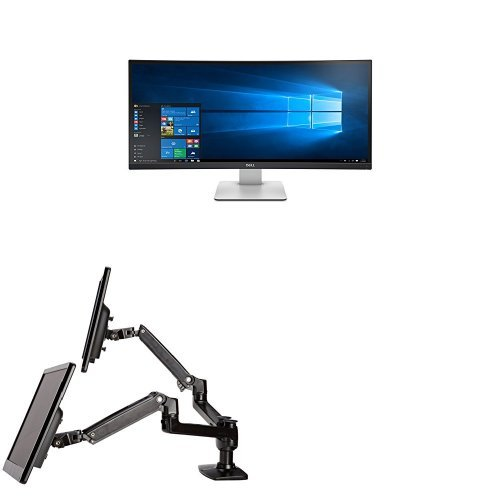 Two Dell UltraSharp U3415W 34-Inch Curved LED-Lit Monitors Bundled with AmazonBasics Dual Side-by-Side Mounting Arm