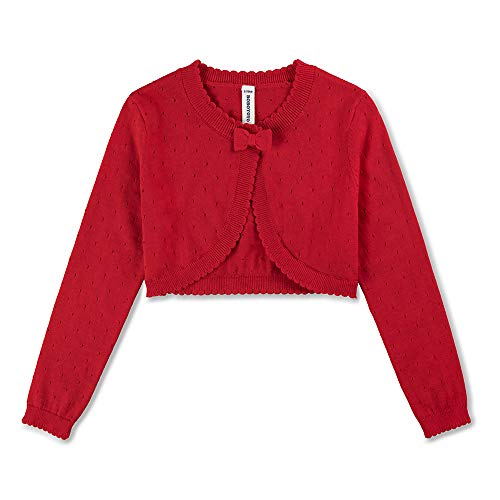 BOBOYOYO Girl's Cardigan Sweater Long Sleeve Bow Shrug Short Cotton Dress Cover Up 3-12Y (Red, 11-12Y/152CM)