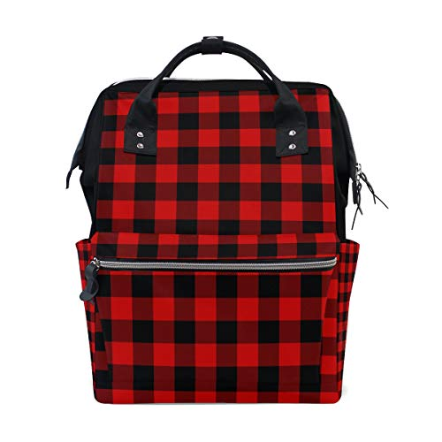 (Backpack Rustic Black Red Buffalo Check Plaid Pattern Diaper Bag Travel Daypack)