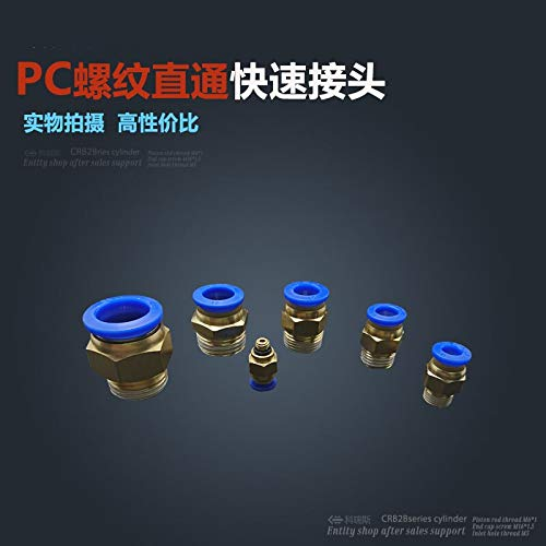 Fevas 10pcs 8mm to 3//8 Pneumatic Connectors Male Straight one-Touch Fittings BSPT PC8-03