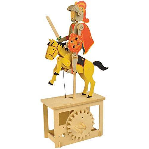 WHAT ON EARTH Wooden Mechanical Red Knight Puzzle Construction Kit - Crank Operated