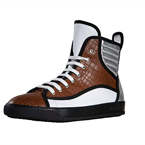 Bendyk Top Rebell, Exclusive high top Sneaker for Men, Made in Italy, Calfskin with Crocodile Leather Texture, Cookie Brown, 44 Calfskin Leather Mens Sneakers