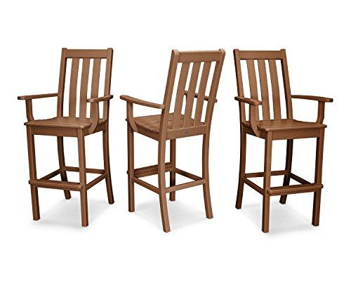 POLYWOOD Vineyard Bar Arm Chair 3-Pack - Classic Bar Teak Chair Arm