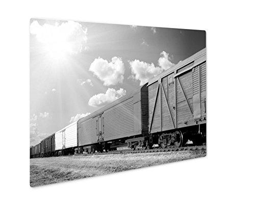 Ashley Giclee Freight Train, Wall Art Photo Print On Metal Panel, Black & White, 8x10, Floating Frame, ()