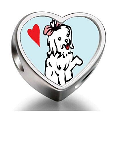 J.charm Maltese Cute Dog White Heart Photo Charm Beads