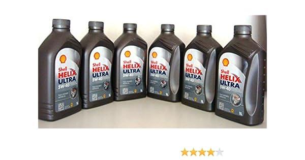 Shell Helix Ultra 5w40 - Aceite de motor 100 % sintético, 6 envases de 1 litro=6 litros: Amazon.es: Coche y moto