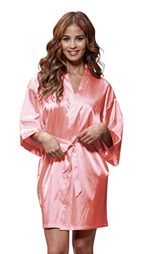 Women's Pure Color Satin Short Kimono Bridesmaids Lingerie Robes (Large, Light ()