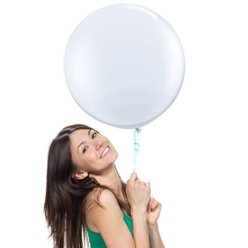 18 Inch (1.5 ft) Giant Jumbo Latex Balloons (Premium Helium Quality), Pack of 6, Round Shape - White, for Photo Shoot/Birthday/Wedding Party/Festival/Event/Carnival (Best Way To Paper Mache A Balloon)