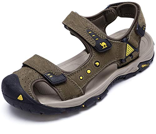 CAMEL CROWN Men's Leather Sandals Waterproof Hiking Sandals for Men Closed Toe Adjustable Strap Athletic Outdoor Water Shoes for Men Travel Sport Beach Summer Trekking Coffee Size 12 (Best Waterproof Hiking Sandals)