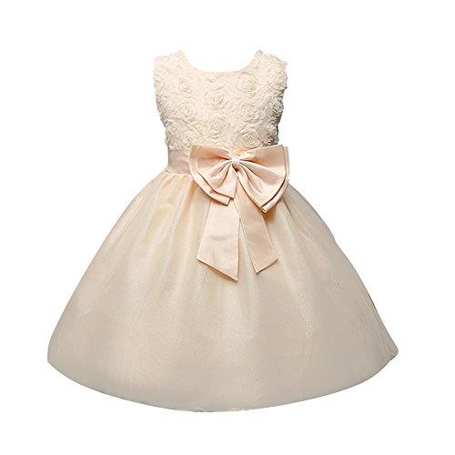 LSERVER-Vestidos de Rosa Princesa con Las flores de La Boda Para Las Niñas Champán 1-2 Años