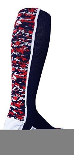 TCK Sports Digital Camo Over The Calf Socks (Navy/White/Red, Small)