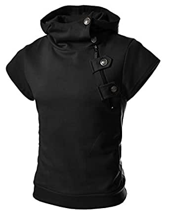 4BS Mens Casual Buckle Zipper Slim Hoodie Cotton Solid Short sleeve T-shirts BLACK US L(Tag size 2XL)