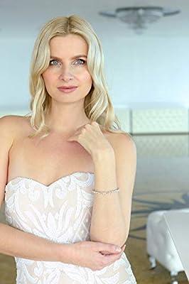 "Mariell CZ Wedding Bridal & Prom Tennis Bracelet for Women, Silver Platinum Plated, 7"" Plus ¼ Extender"