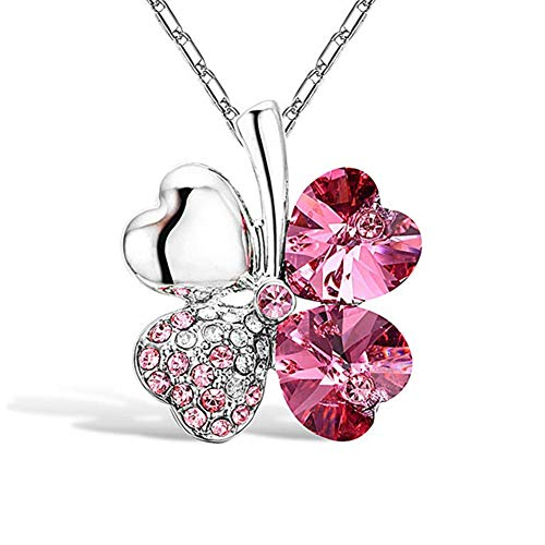 - Gift for Her 925 Sterling Silver Women's Necklace Pendant Blue Heart Dolphin Jewelry FourLeaf Clover Heart Shaped Crystal Pendant 1Cp