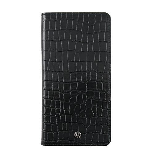 UUnique Grand Golden Globe Edition Étui portefeuille en cuir universel pour smartphone–Noir