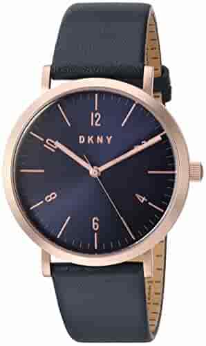 DKNY Women's 'Minetta' Quartz Stainless Steel and Leather Casual Watch, Color Blue (Model: NY2614)