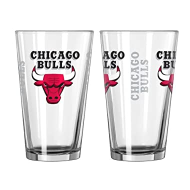 NBA Chicago Bulls Elite Pint Glass, 16-ounce, 2-Pack