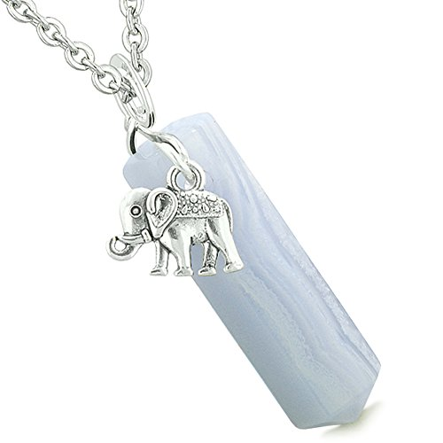 Lucky Elephant Charm Magic Powers Amulet Crystal Point Pendant Blue Lace Agate 22 Inch Necklace - Blue Agate Designer Necklace