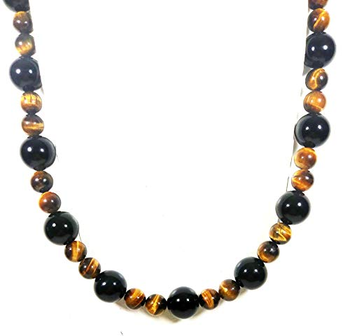 (Auras by Osiris - Onyx and Tiger Eye Beaded Necklace for Men - World Class Durability & Magnetic Clasp - Good Luck - Confidence - Protection - All Natural Gemstones - Handmade in USA)